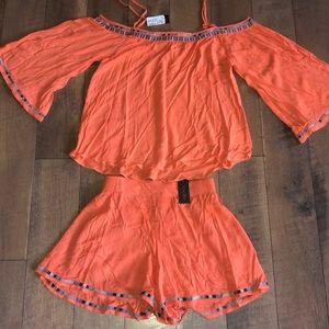 S Miss Me outfit shorts shoulder NEW peach orange